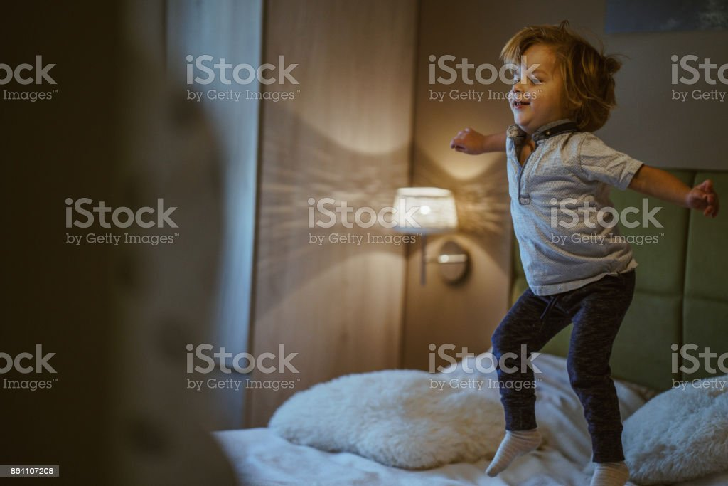 Little boy jumping royalty-free stock photo