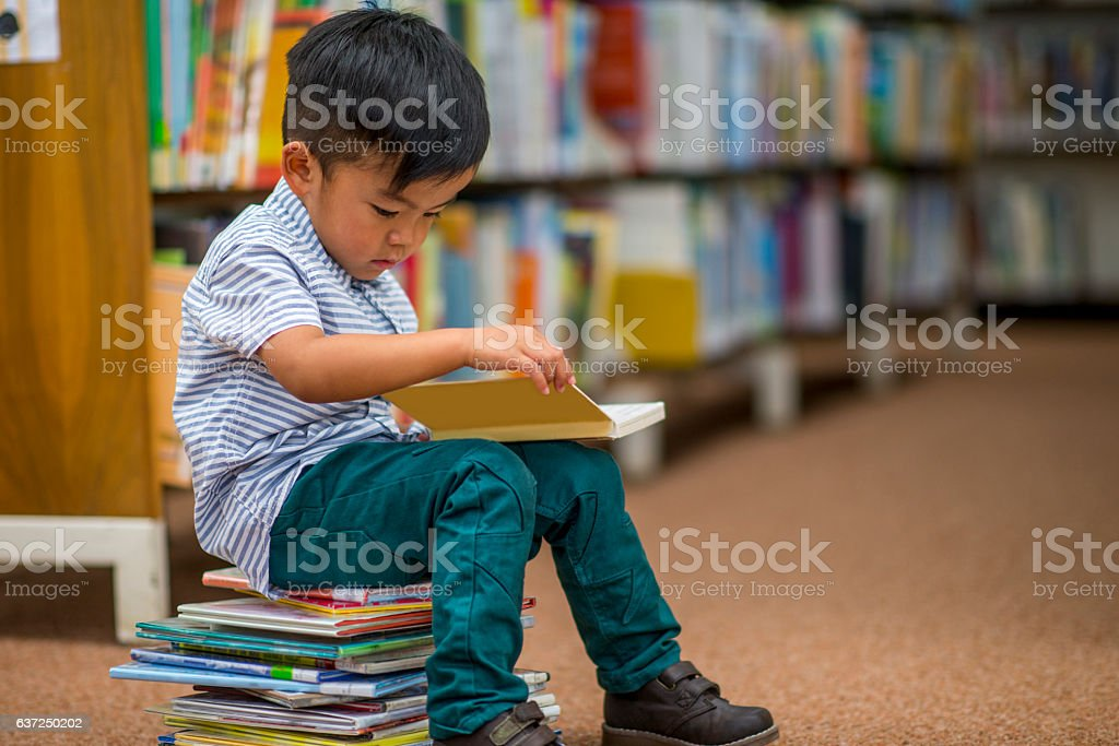 Little Boy Looking at Books stock photo