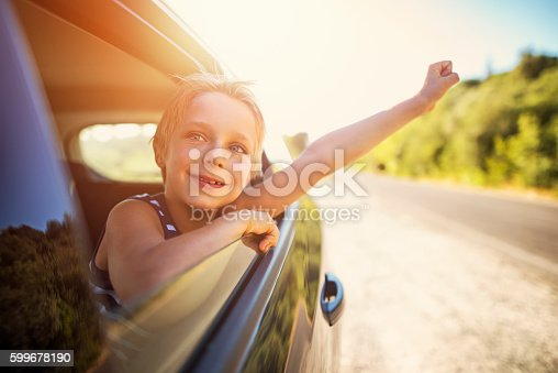 istock Little boy looking out of car on a road trip 599678190