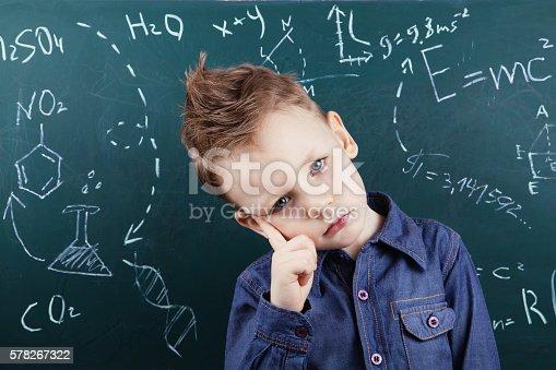 622006346 istock photo Little boy near blackboard with formulas 578267322