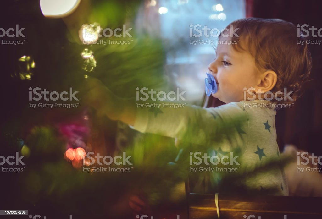 Little boy near Christmas tree stock photo