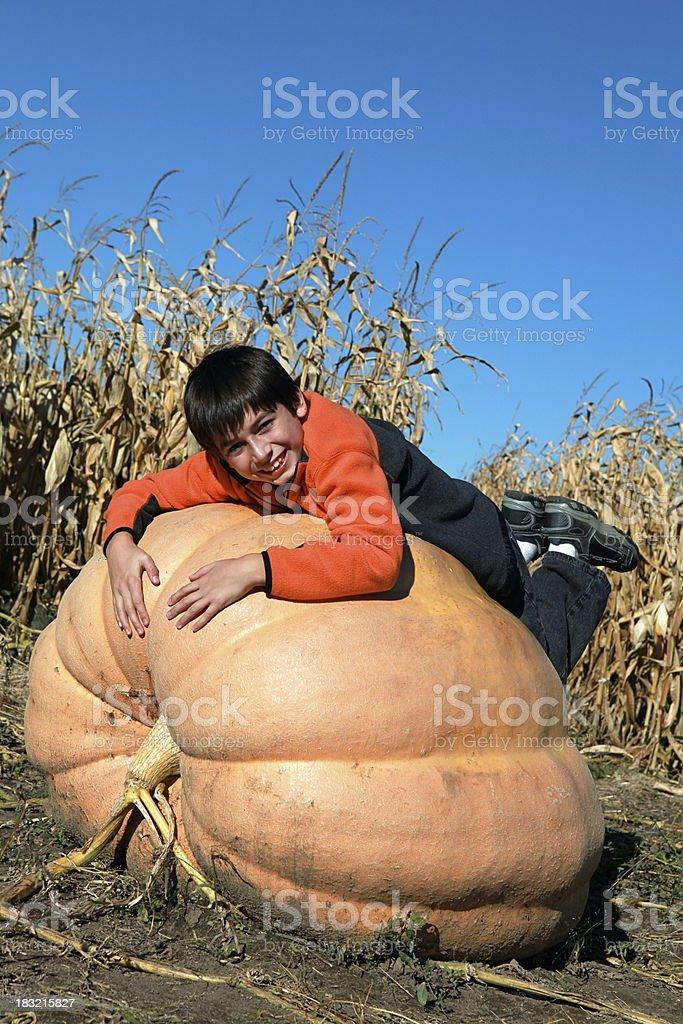 Little Boy on Large Pumpkin stock photo