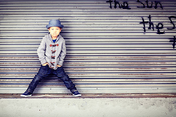 Little Boy on Loading Dock stock photo