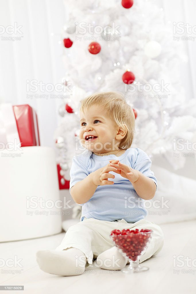 Little boy on New Years day eating pomegranate. royalty-free stock photo