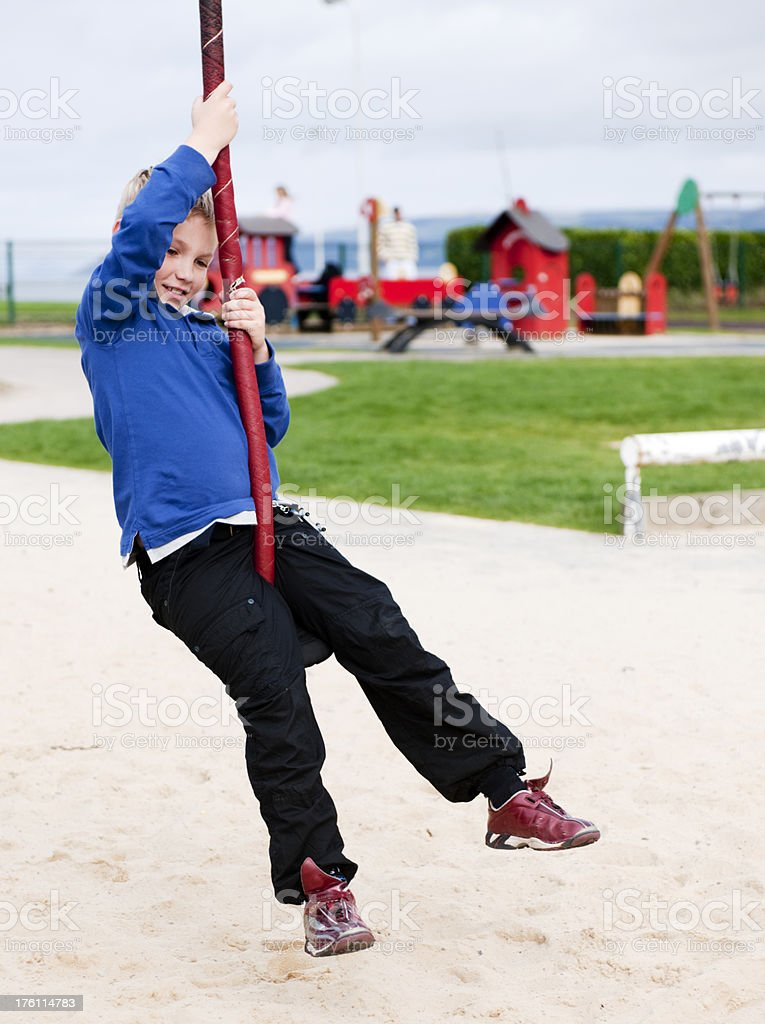 "little boy on ""flying fox"" royalty-free stock photo"