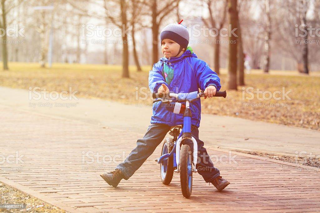 little boy on running bike in autumn stock photo