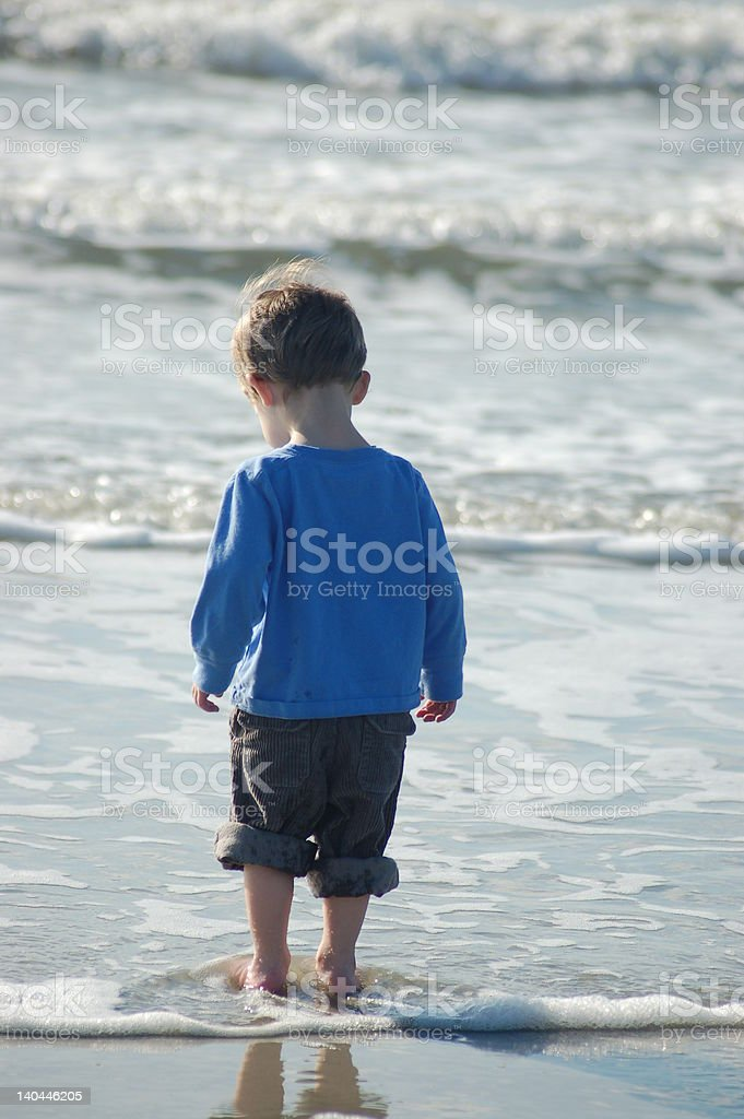 little boy on the beach royalty-free stock photo