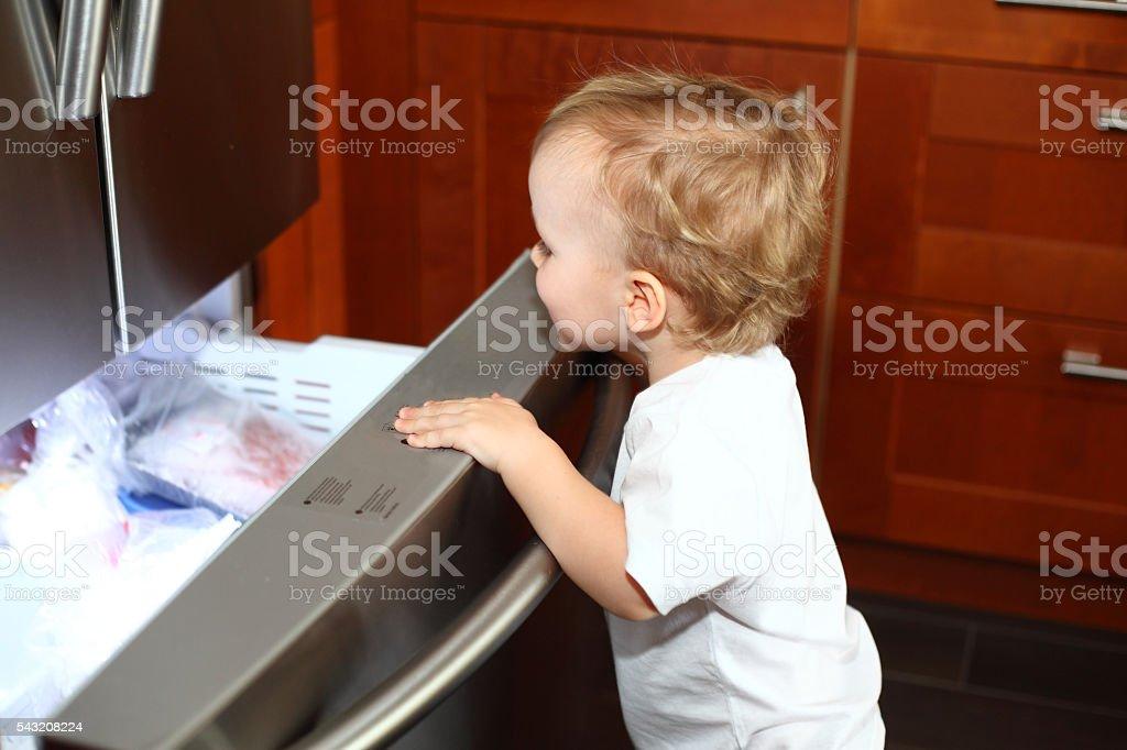 Little boy opening the freezer door stock photo