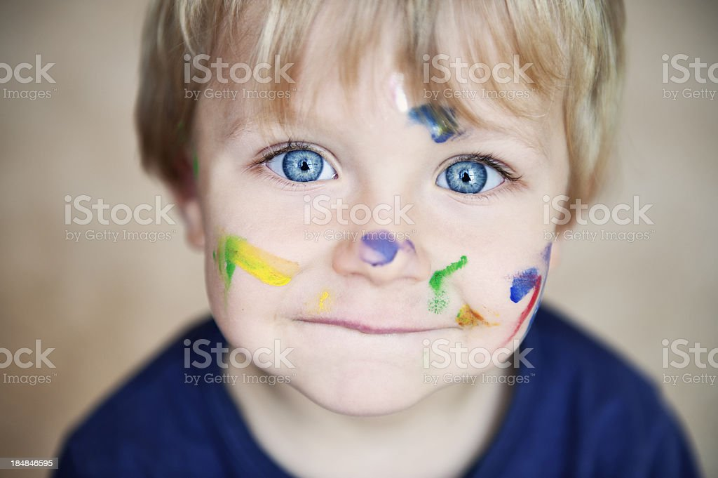 Little boy painting royalty-free stock photo