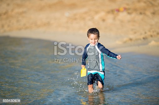 605742160 istock photo Little Boy Playing in the Ocean 533430928