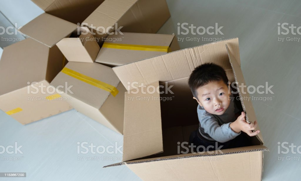Little boy playing inside a box on moving day.