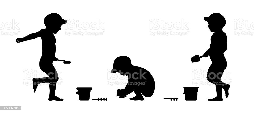 little boy playing on the beach silhouettes set 1 royalty-free stock photo