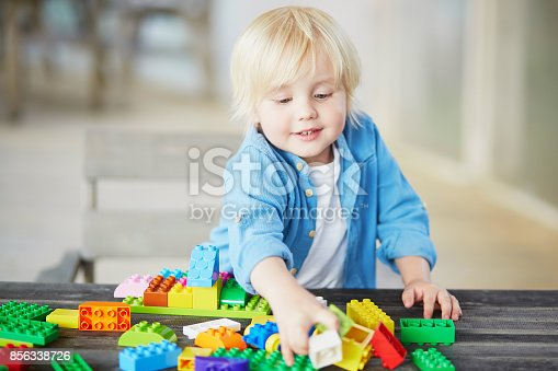 istock Little boy playing with colorful plastic construction blocks 856338726