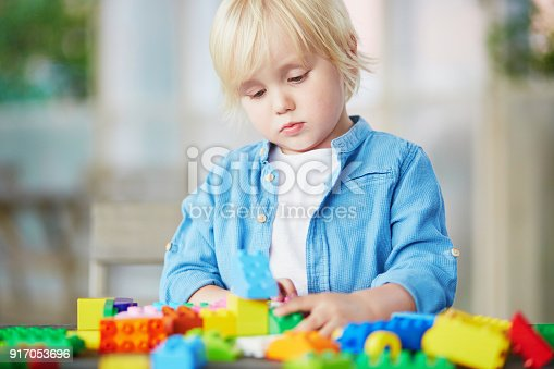 istock Little boy playing with colorful plastic construction blocks 917053696