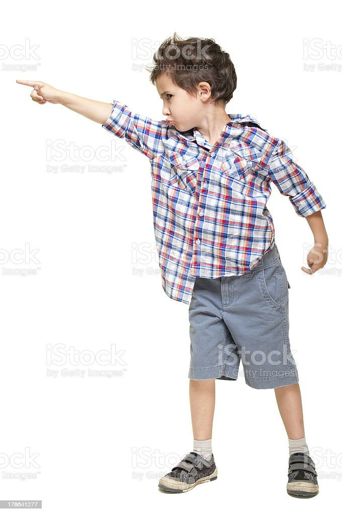 Kleine Junge zeigt entfernt – Foto