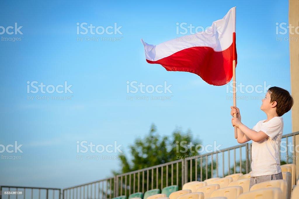 Little boy - Polish football team fan stock photo