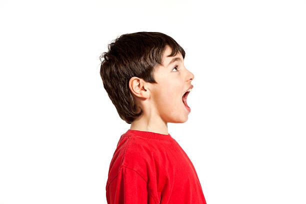 little boy profile view stock photo
