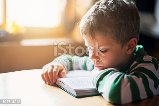 istock Little boy reading a book a the table 625743212