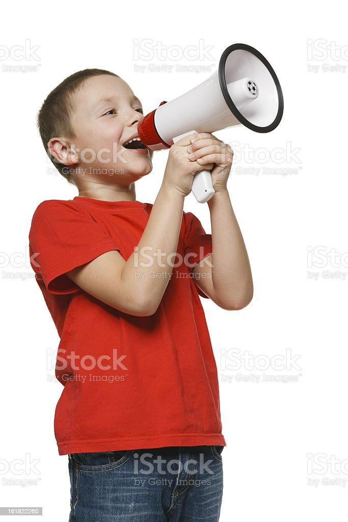 Jungen schreien in ein Megafon – Foto
