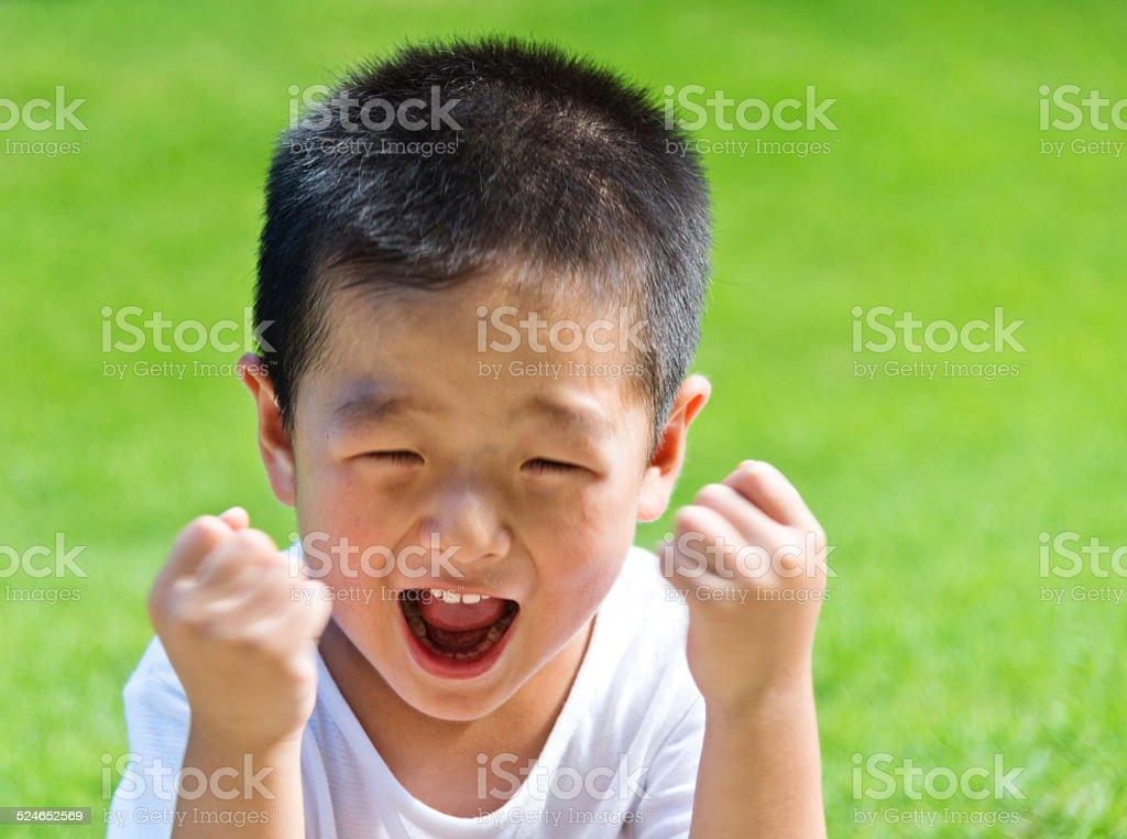 little boy shouting stock photo