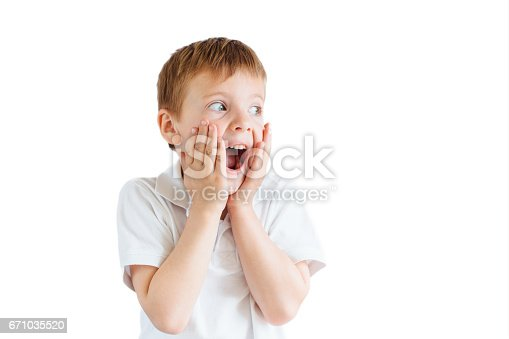 istock Little boy show emotions on white background 671035520