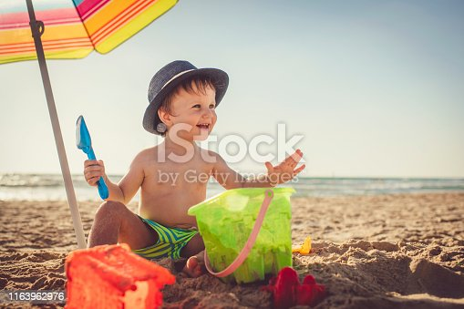Cute happy child on beach vocations near the sea