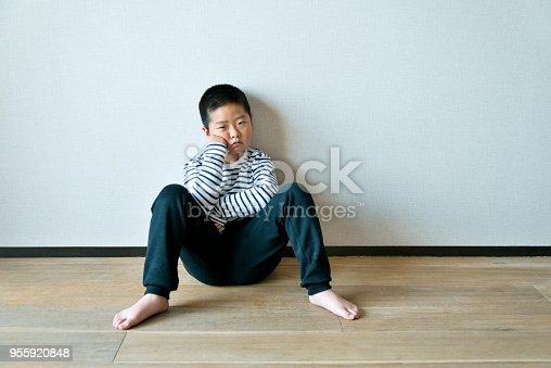 Little boy sitting on the floor