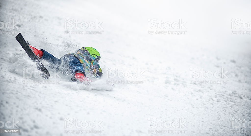 Little boy ski accident during lesson stock photo
