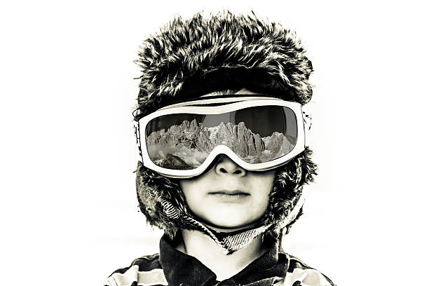 Little Boy Skiing clothes stock photo