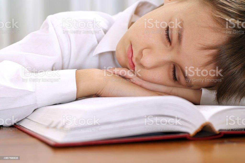 little boy sleeping with book stock photo