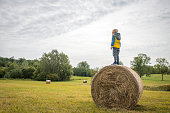 Little boy standing on a hay bale in the plateau and looking away. Slovenia, Europe.