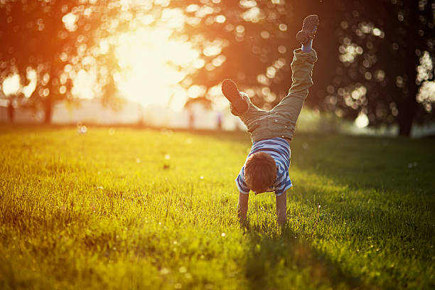Little boy standing on hands on grass Portrait of a little boy having fun on grass in park or garden. The boy is standing on hands. Sunny spring or summer evening. grounds stock pictures, royalty-free photos & images