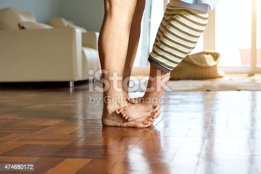 istock Little boy standing on mother's feet 474680172