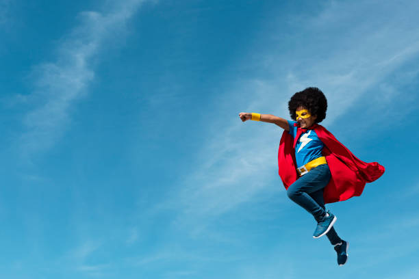 little boy super hero concept - super hero stock pictures, royalty-free photos & images
