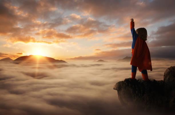 little boy superhero - baby super hero imagens e fotografias de stock