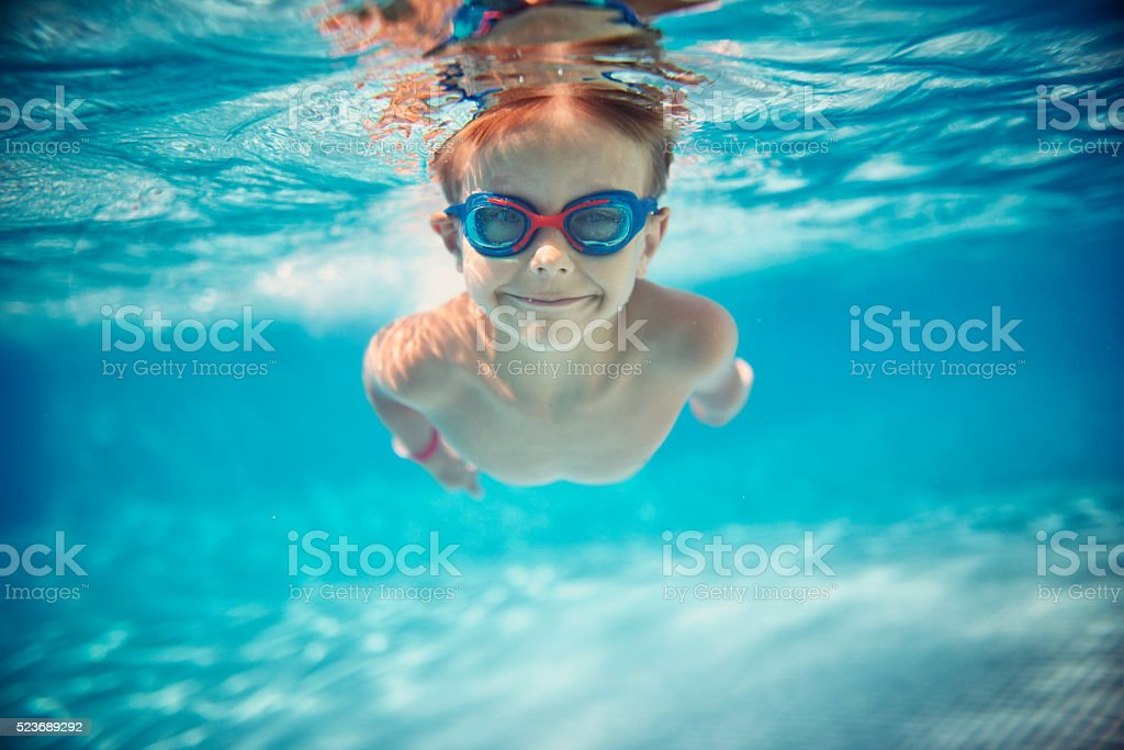 ... Little Boy Swimming Underwater In Pool Stock Photo ... Part 72