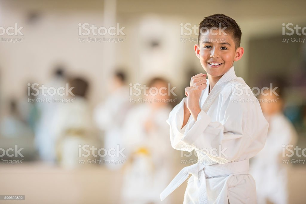 Little Boy Taking Karate stock photo