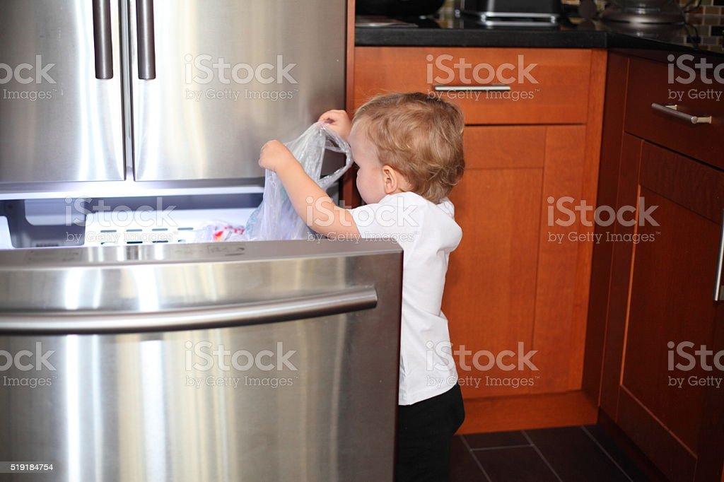Little boy taking things out of the freezer stok fotoğrafı