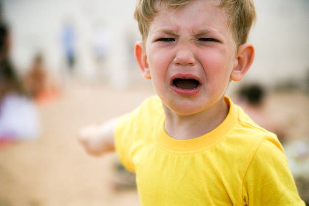 Little boy tantrum stock photo