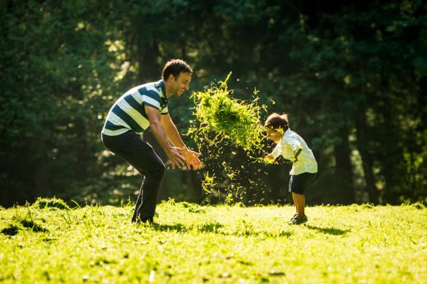 kleiner junge wirft frisch geschnittenes gras zu seinem vater - kemter stock-fotos und bilder