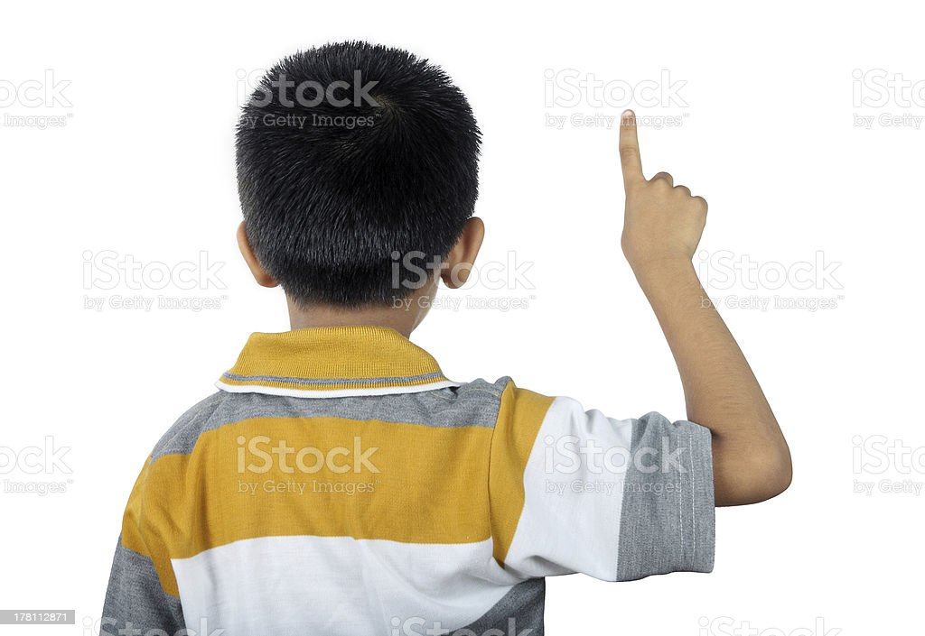 Little Boy Touch The Screen royalty-free stock photo