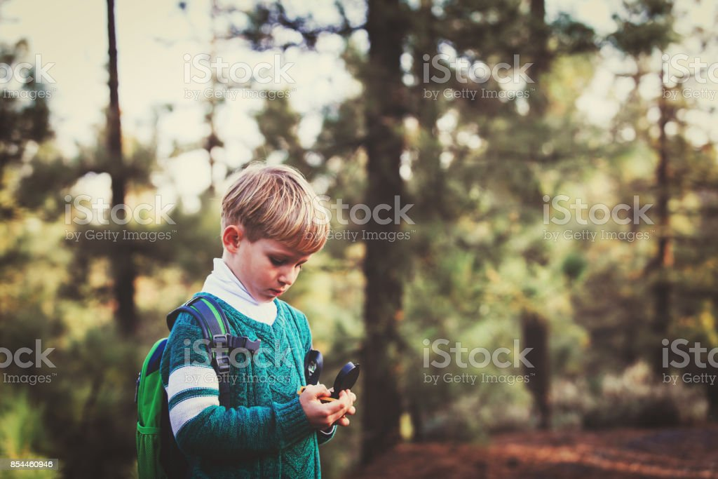 little boy travels with compass in green forest stock photo