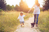 Little boy walking and holding hands with his mother, on sunny footpath. A puppy next to them.