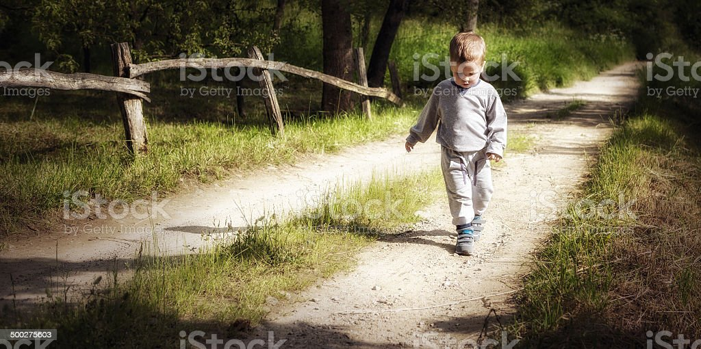 Little boy walking on a country road stock photo