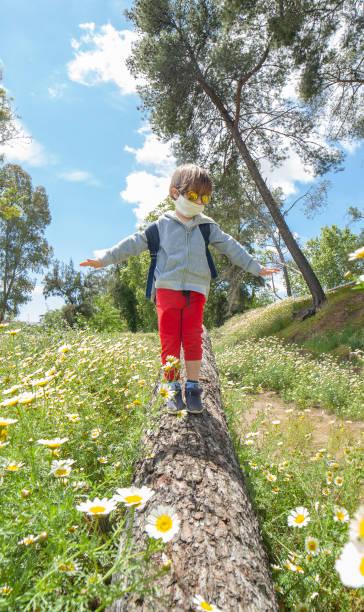 Niño caminando en un tronco en medio del campo de margarita - foto de stock