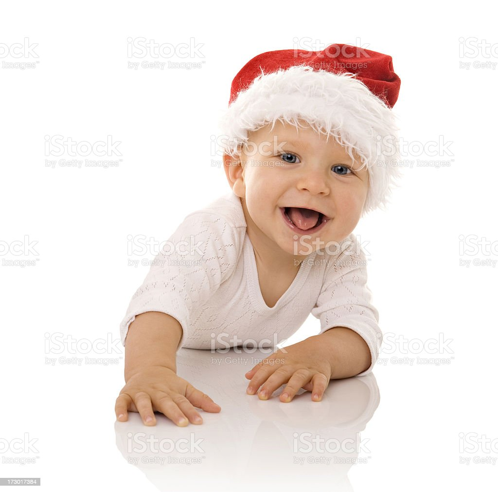 Little boy wearing a Santa hat royalty-free stock photo