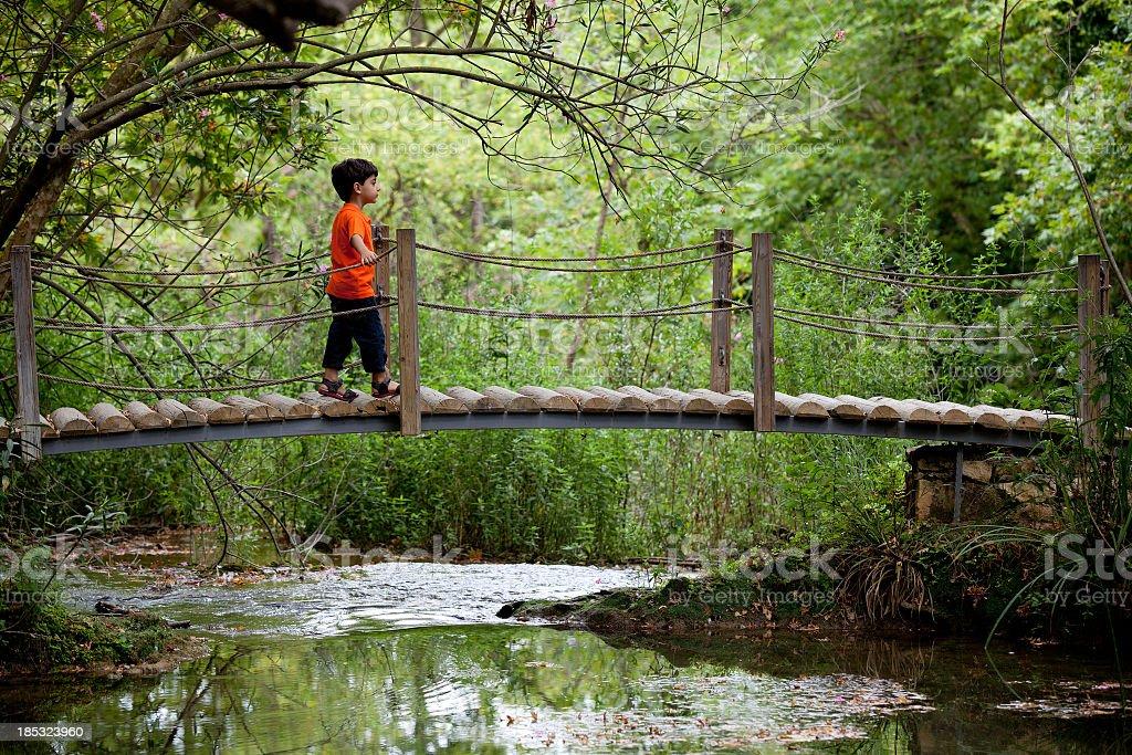 Little boy wearing orange tshirt walking on drawbridge in forest stock photo
