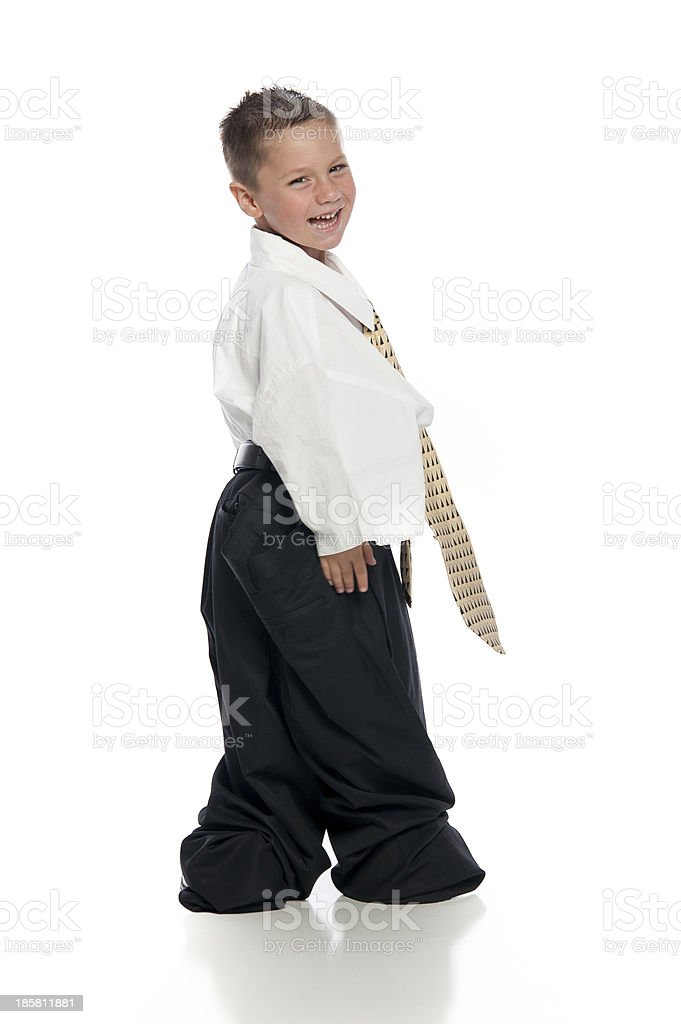 Little Boy Wearing Oversized Clothing and Tie royalty-free stock photo