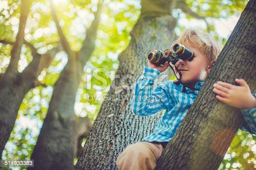 istock Little boy with a binocular 514933383