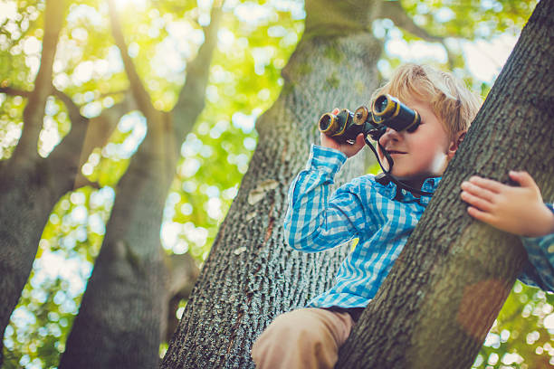 little boy with a binocular - binocular boy bildbanksfoton och bilder